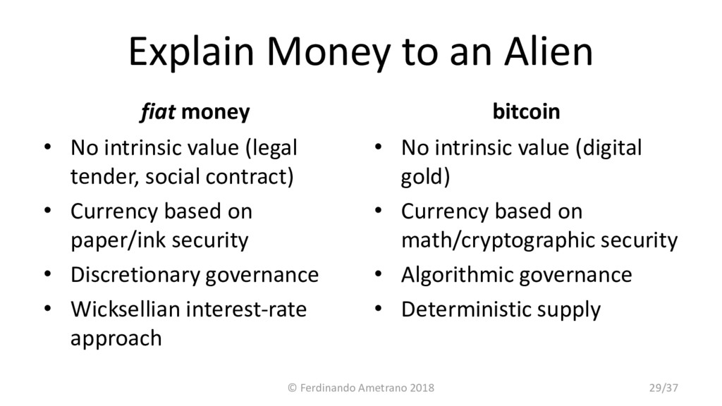 Explain Money to an Alien fiat money • No intri...