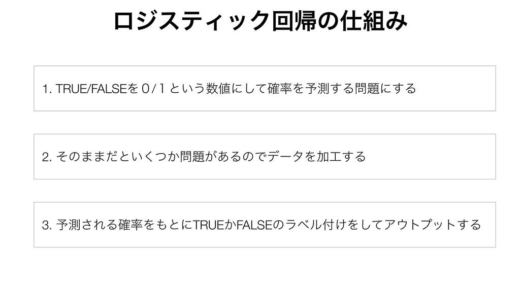 1. TRUE/FALSEΛ̌/̍ͱ͍͏ʹͯ֬͠Λ༧ଌ͢Δʹ͢Δ 2. ͦͷ··ͩͱ...