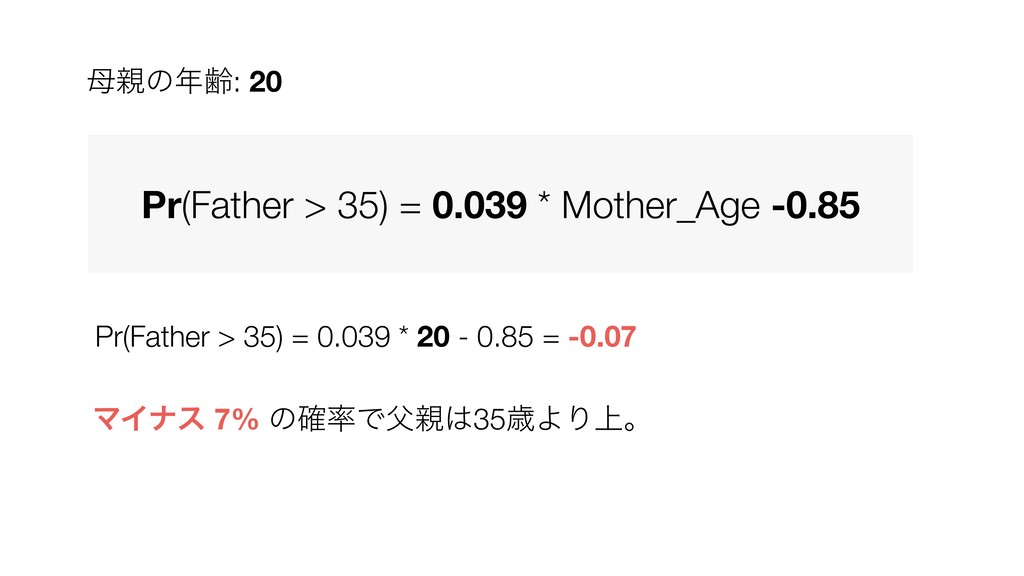 Pr(Father > 35) = 0.039 * 20 - 0.85 = -0.07 Pr(...