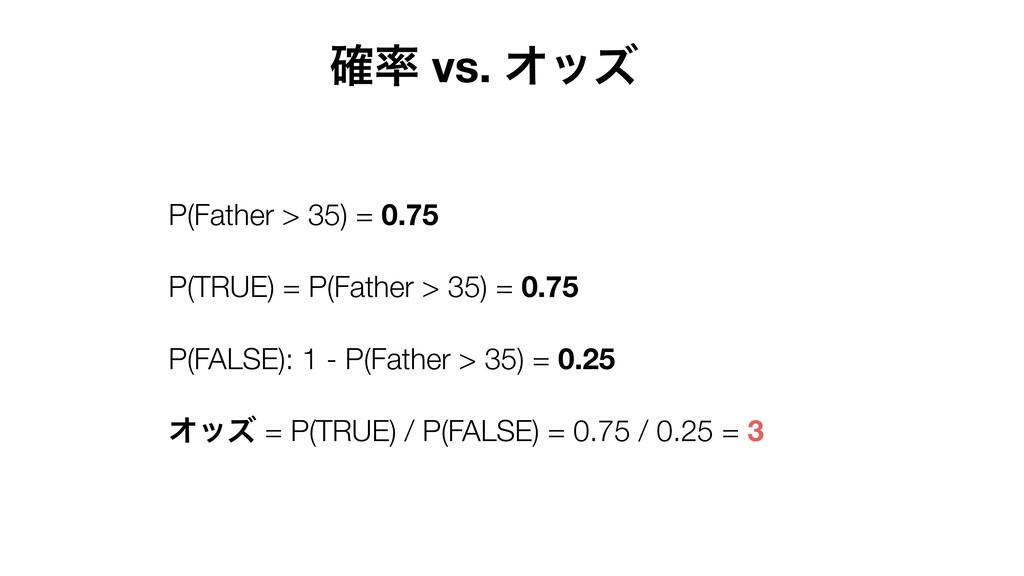 ֬ vs. Φοζ P(Father > 35) = 0.75 P(TRUE) = P(Fa...