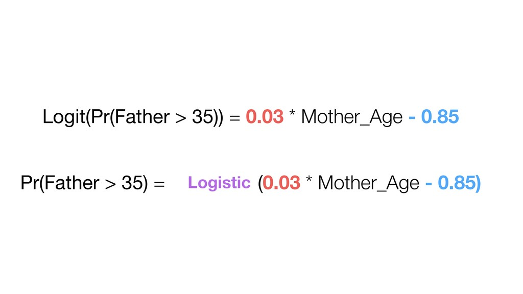 Logit(Pr(Father > 35)) = 0.03 * Mother_Age - 0....