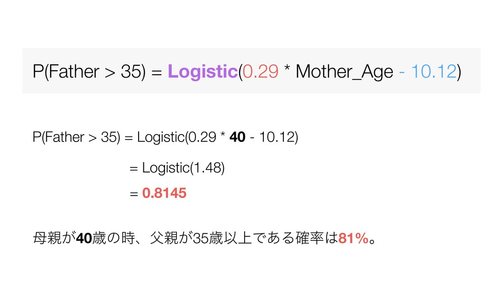 P(Father > 35) = Logistic(0.29 * Mother_Age - 1...
