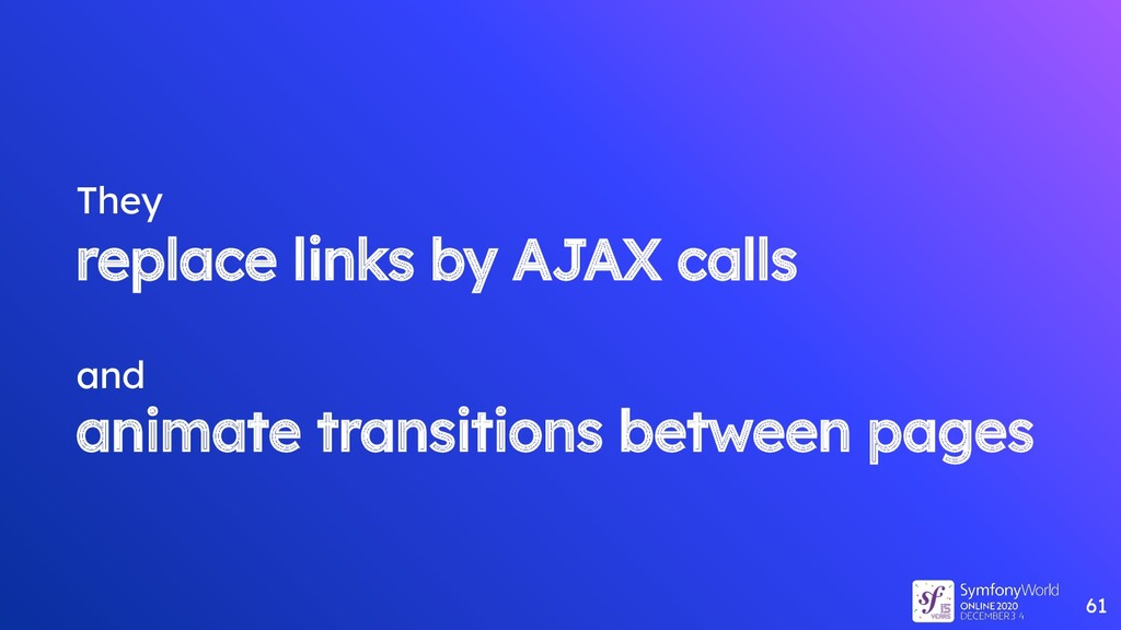 They replace links by AJAX calls and animate tr...