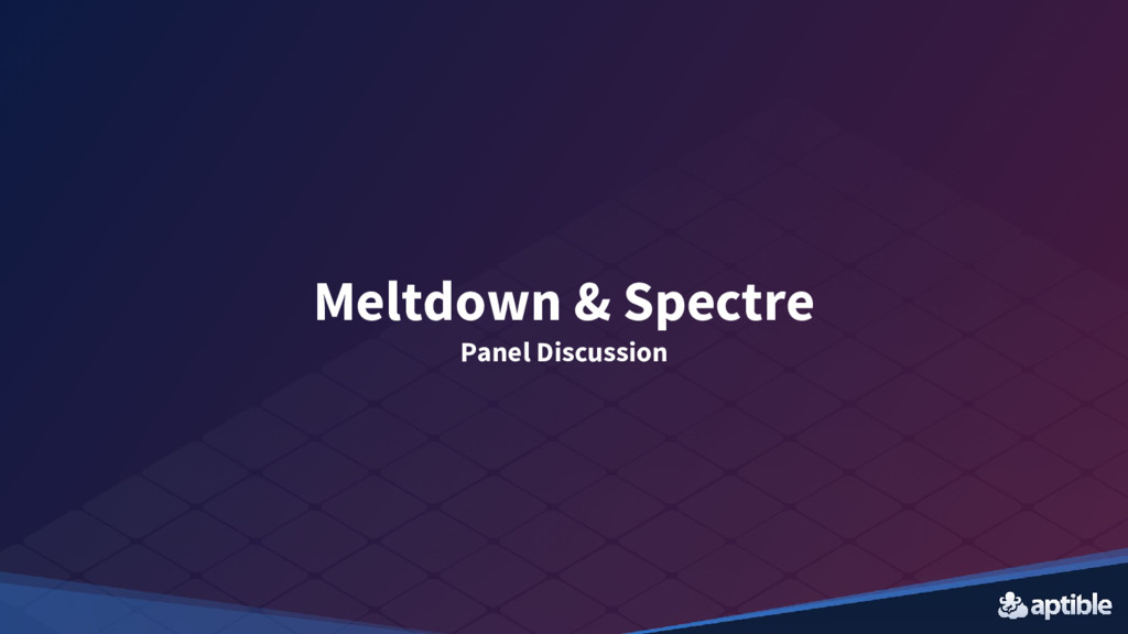 Meltdown & Spectre Panel Discussion