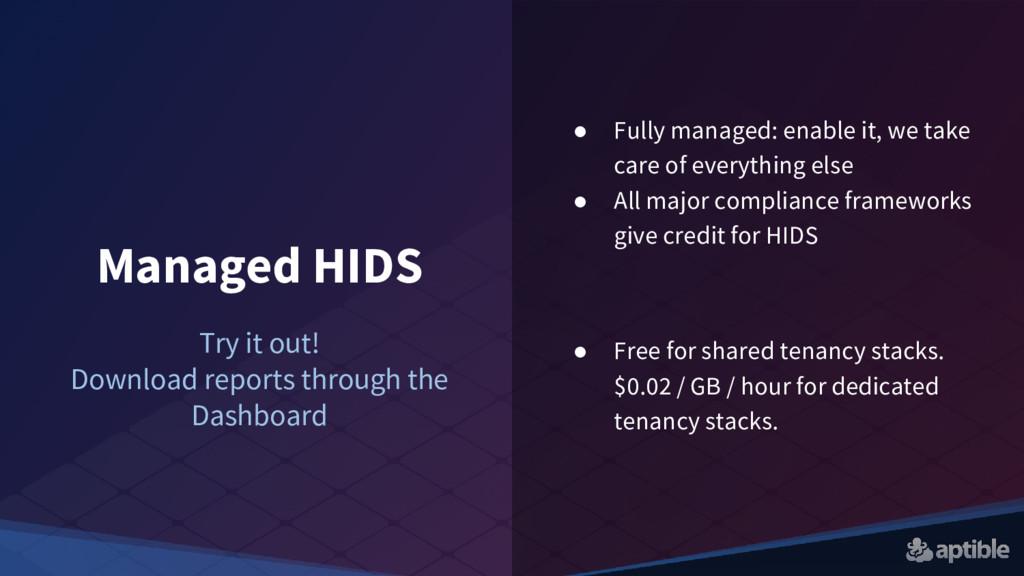Managed HIDS ● Fully managed: enable it, we tak...