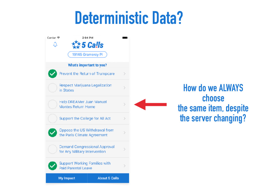 Deterministic Data? How do we ALWAYS choose the...