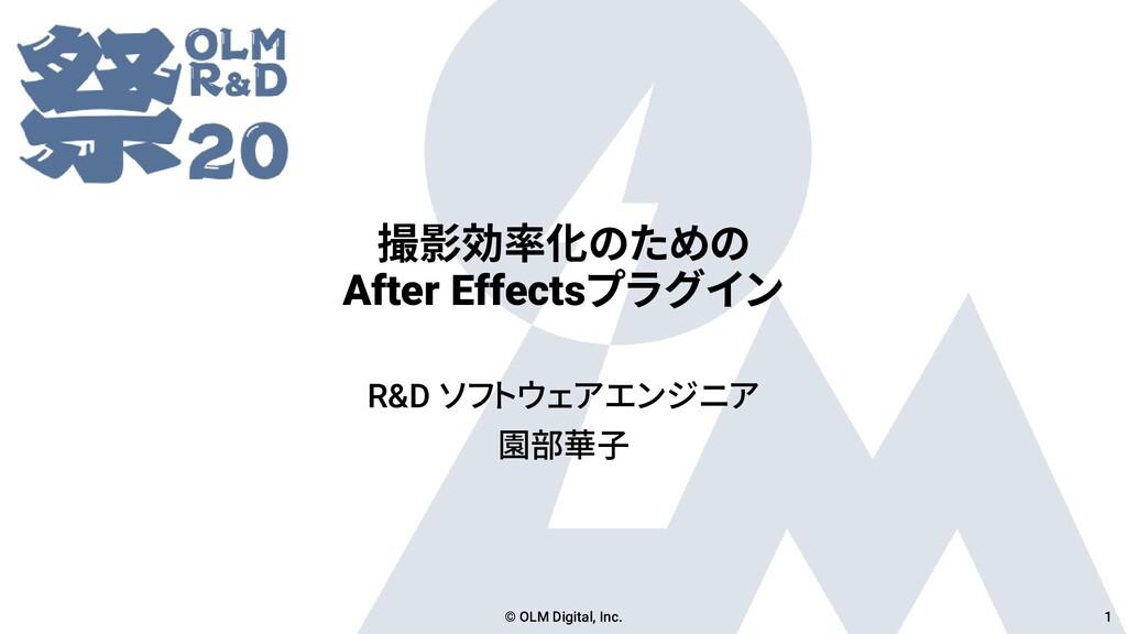 撮影効率化のための After Effectsプラグイン R&D ソフトウェアエンジニア 園部...