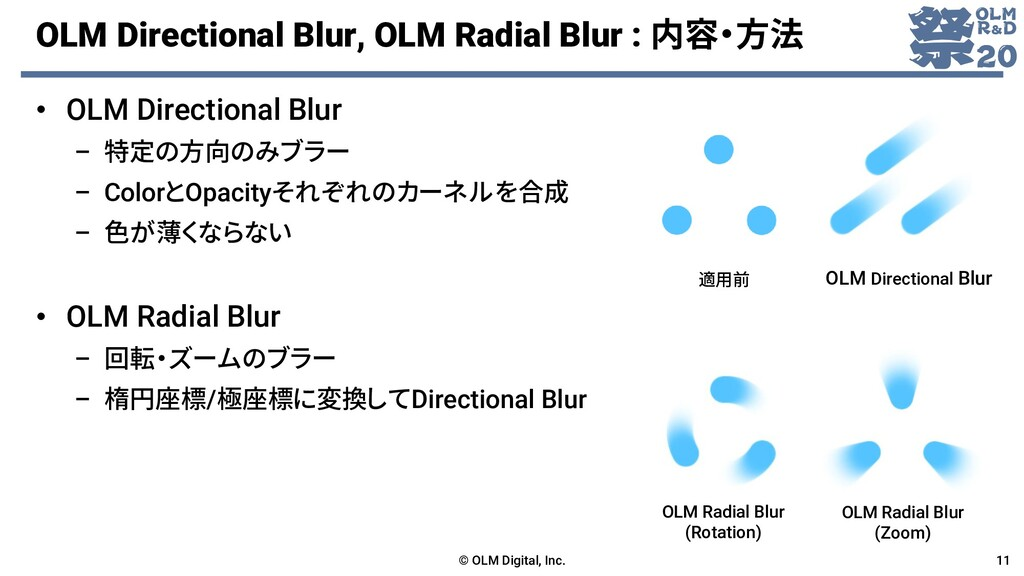 OLM Directional Blur, OLM Radial Blur : 内容・方法 ©...