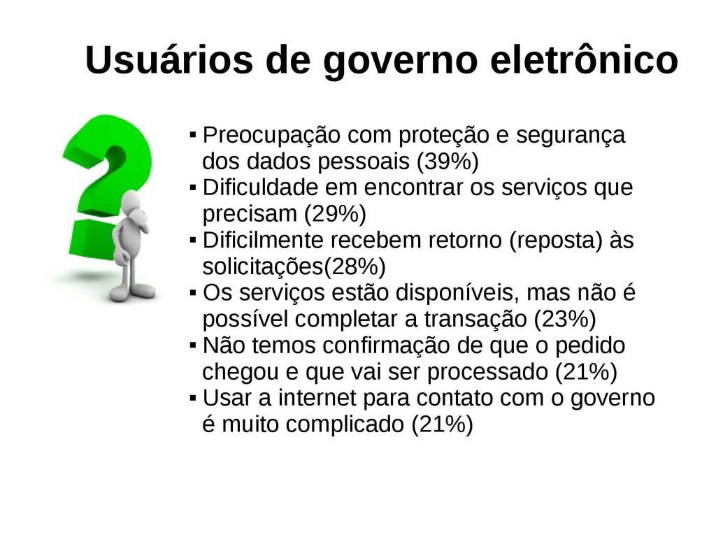 Usuários de governo eletrônico  Preocupação co...