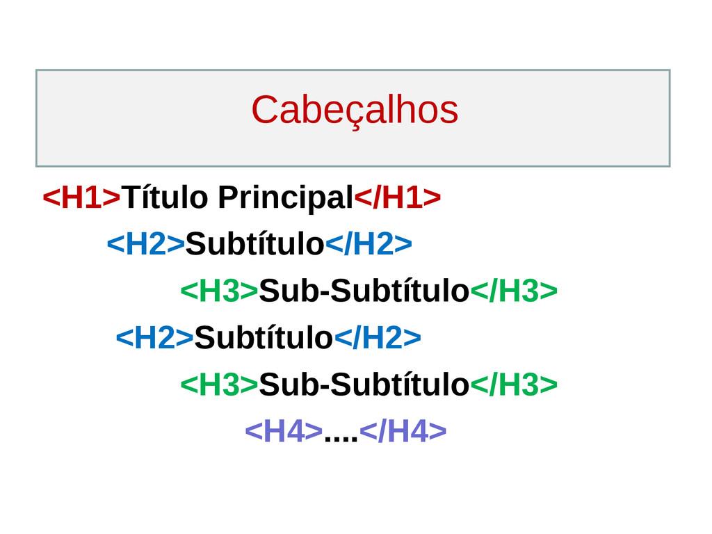 Cabeçalhos <H1>Título Principal</H1> <H2>Subtít...