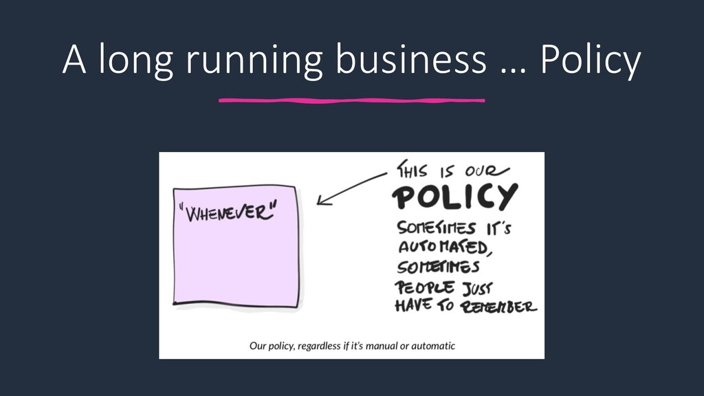 A long running business … Policy