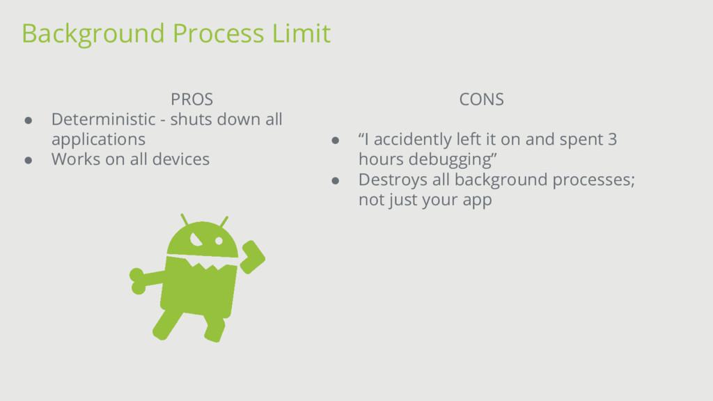 Background Process Limit PROS ● Deterministic -...