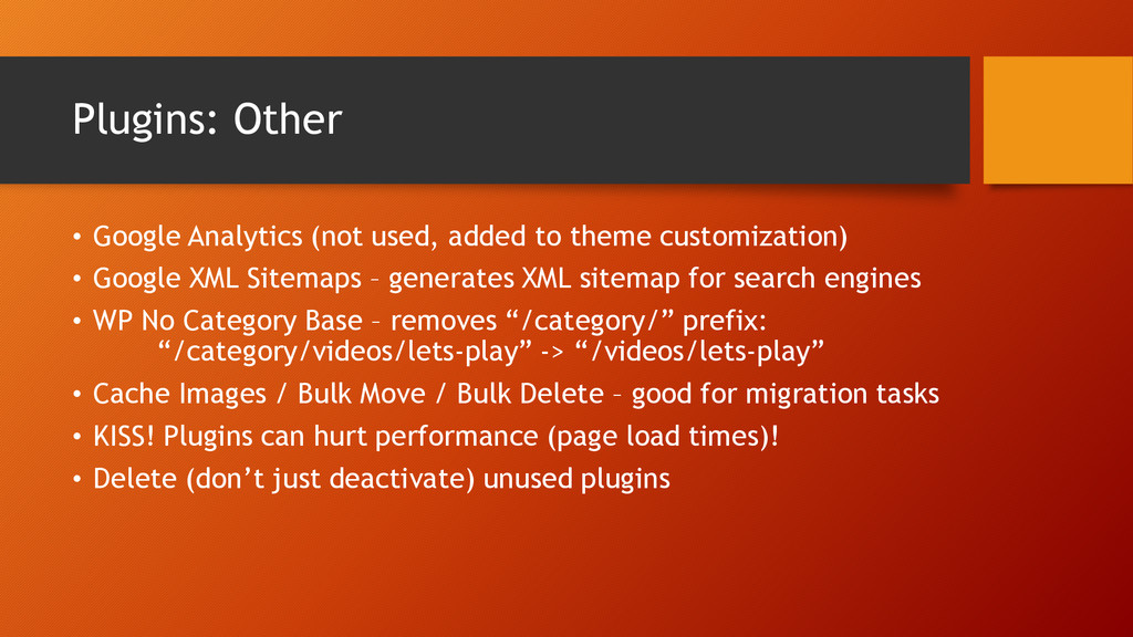 Plugins: Other • Google Analytics (not used, ad...