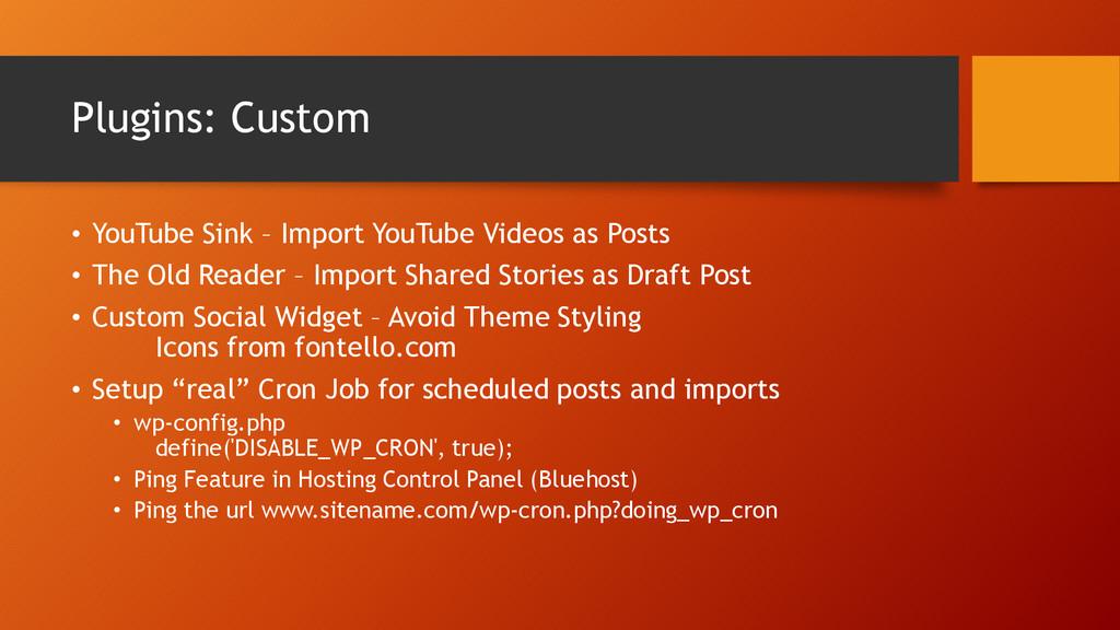 Plugins: Custom • YouTube Sink – Import YouTube...