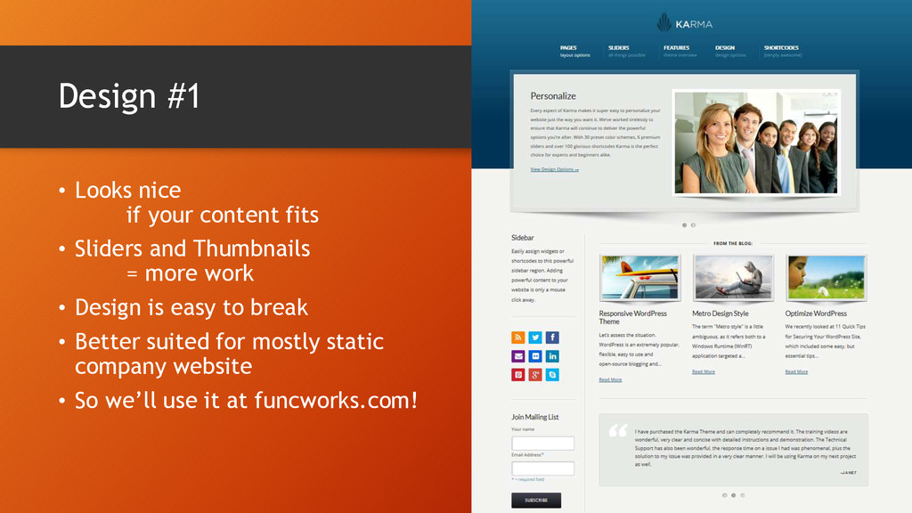 Design #1 • Looks nice if your content fits • S...