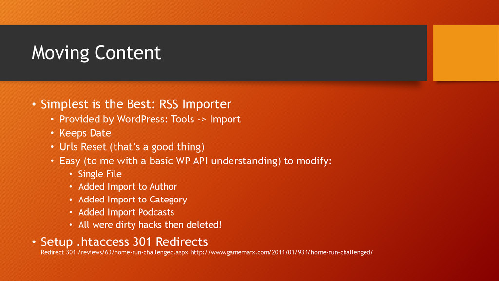 Moving Content • Simplest is the Best: RSS Impo...