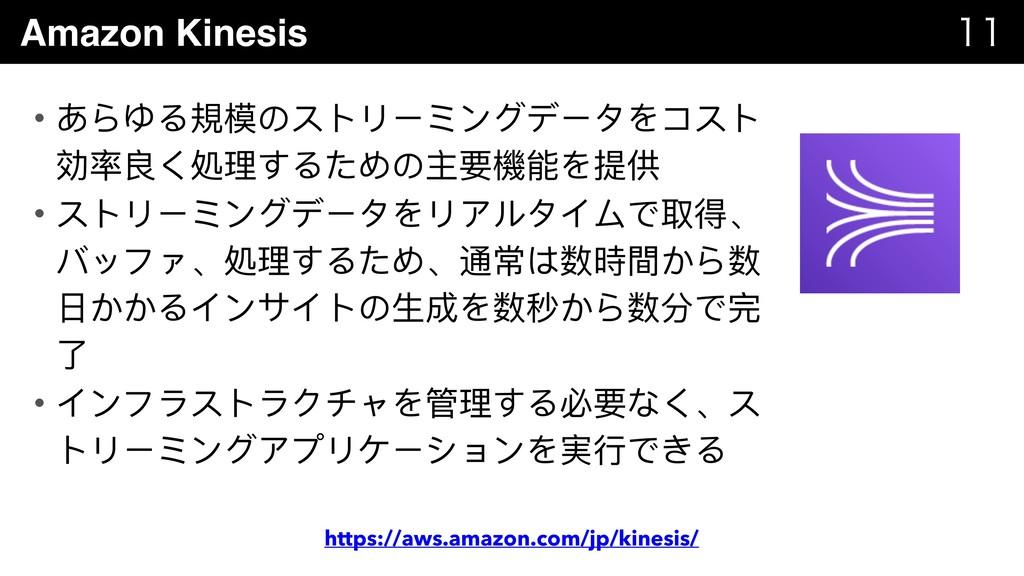 Amazon Kinesis   • あらゆる規模のストリーミングデータをコスト 効率良...