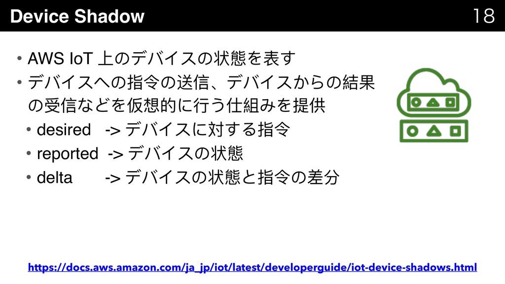 Device Shadow   • AWS IoT 上のデバイスの状態を表す • デバイ...