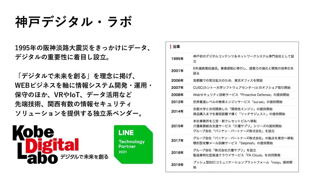 神⼾デジタル・ラボ 1995年の阪神淡路⼤震災をきっかけにデータ、 デジタルの重要性に着⽬し設...