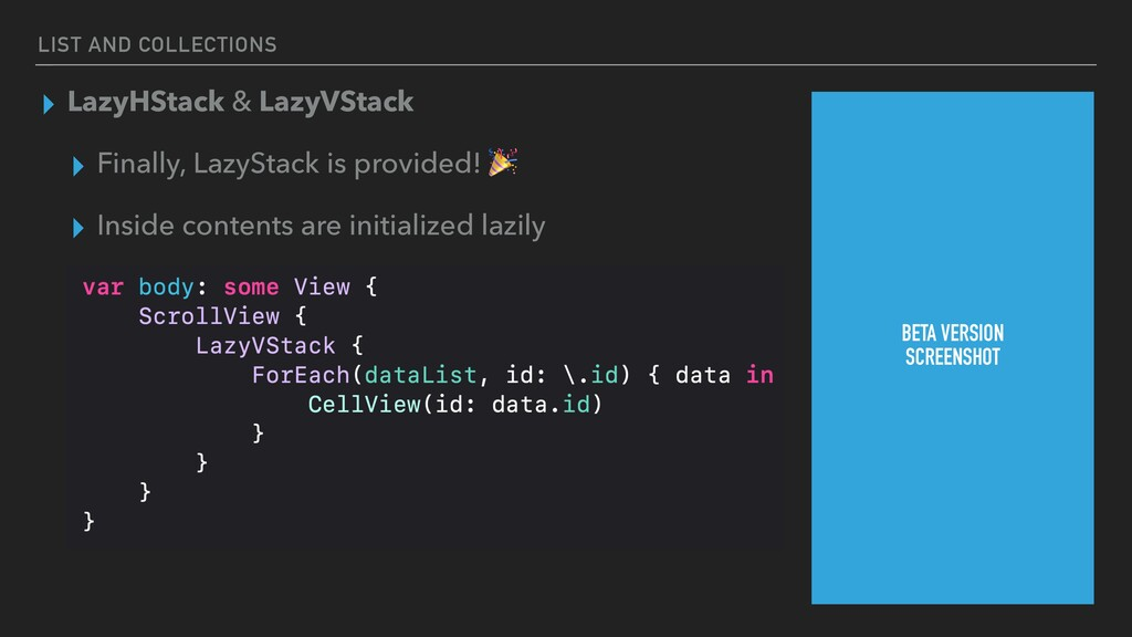 LIST AND COLLECTIONS ▸ LazyHStack & LazyVStack ...