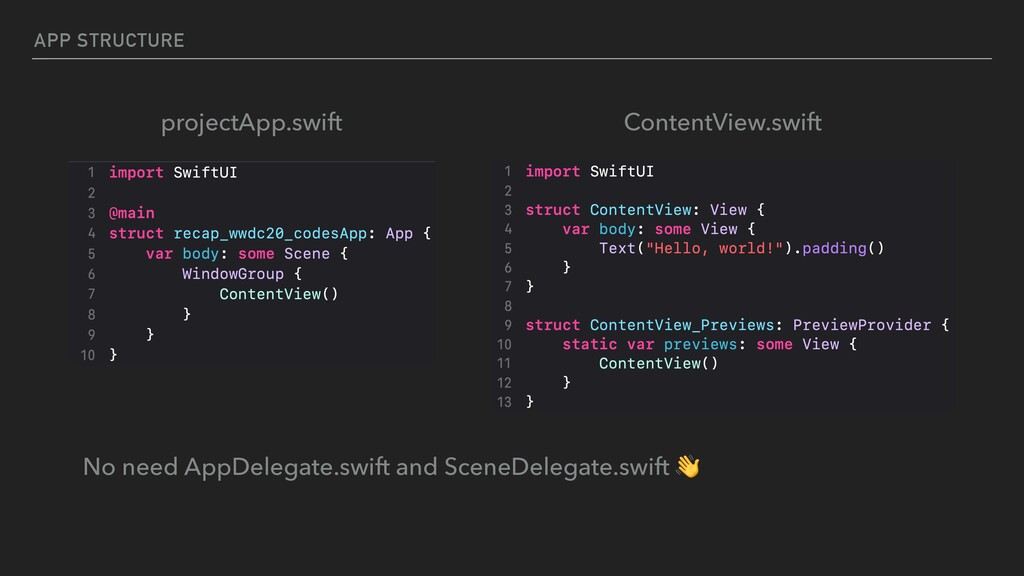 APP STRUCTURE projectApp.swift ContentView.swif...