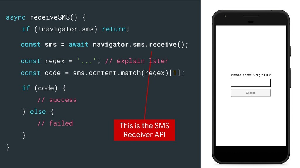 async receiveSMS() { if (!navigator.sms) return...