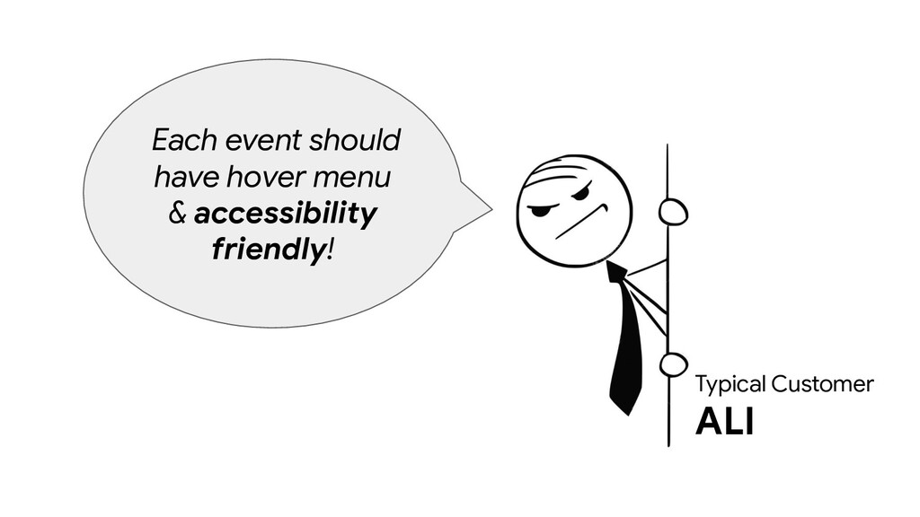 Typical Customer ALI Each event should have hov...