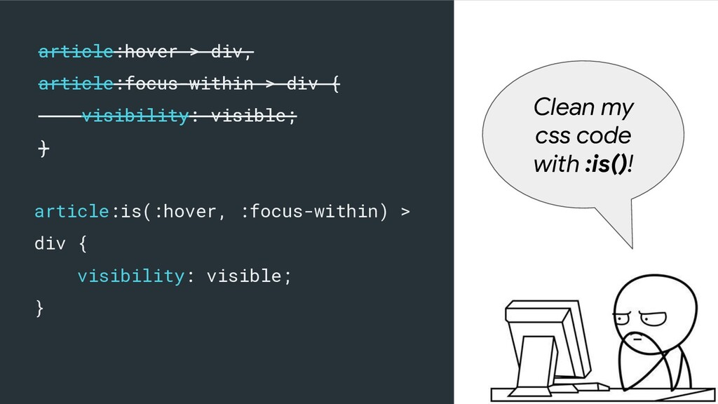 article:is(:hover, :focus-within) > div { visib...