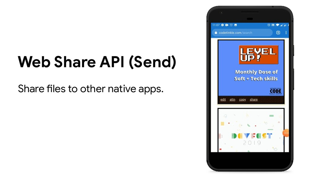 Web Share API (Send) Share files to other nativ...
