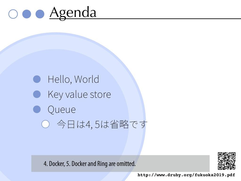 Agenda Hello, World Key value store Queue 4, 5 ...