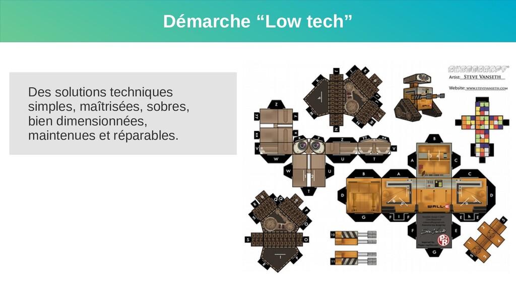 """Démarche """"Low tech"""" Des solutions techniques si..."""