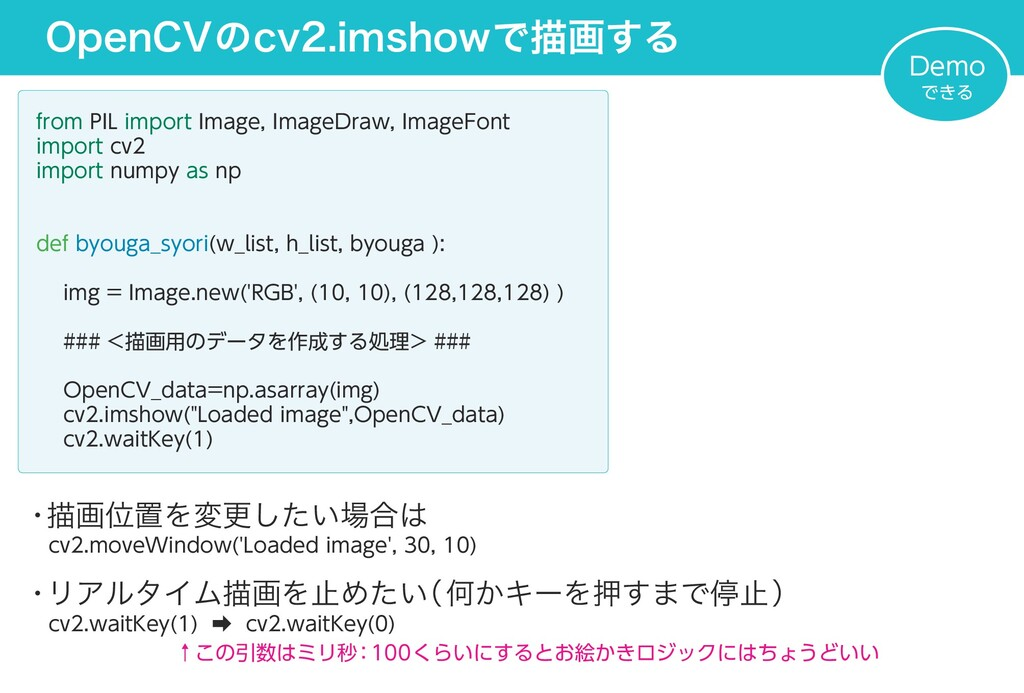 OpenCVのcv2.imshowで描画する from PIL import Image, I...
