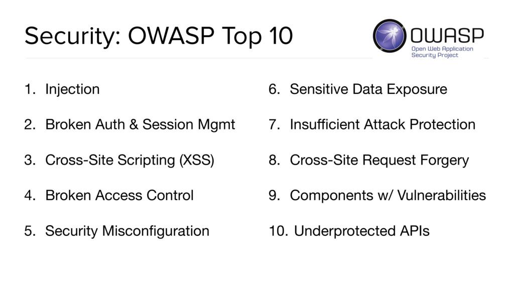 Security: OWASP Top 10 1. Injection  2. Broken ...