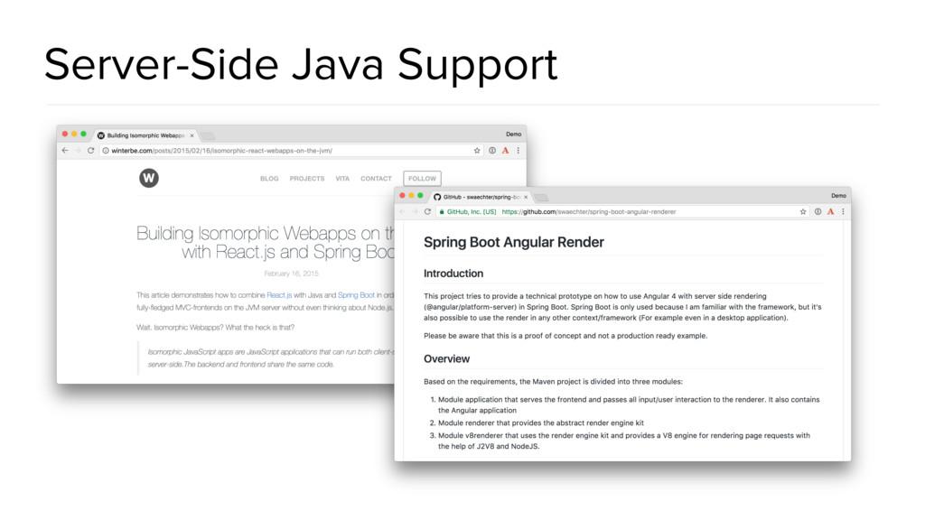 Server-Side Java Support