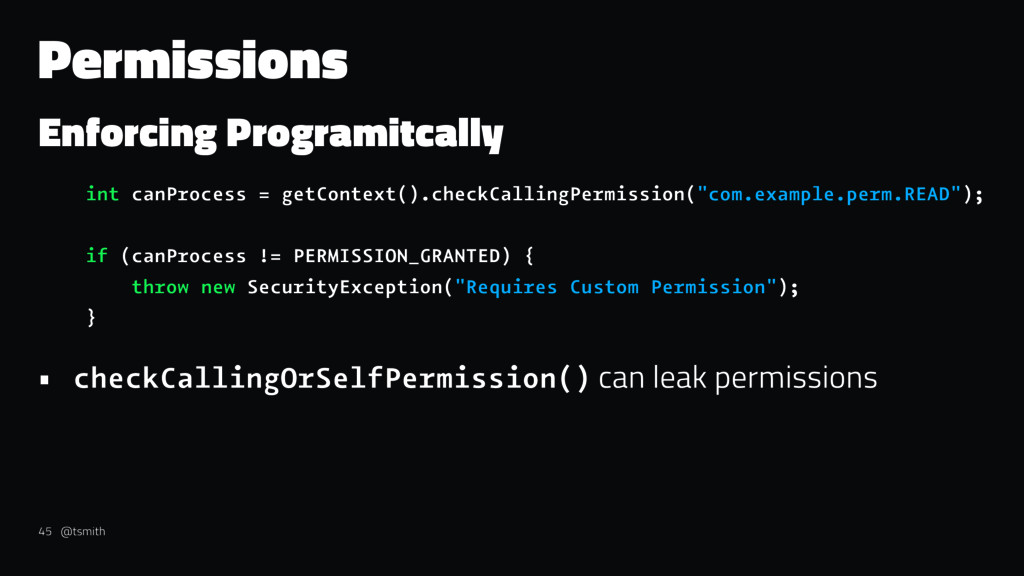 Permissions Enforcing Programitcally int canPro...
