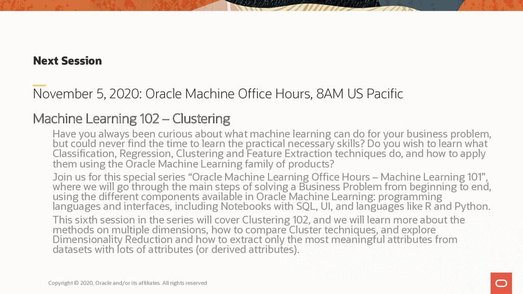 Next Session November 5, 2020: Oracle Machine O...