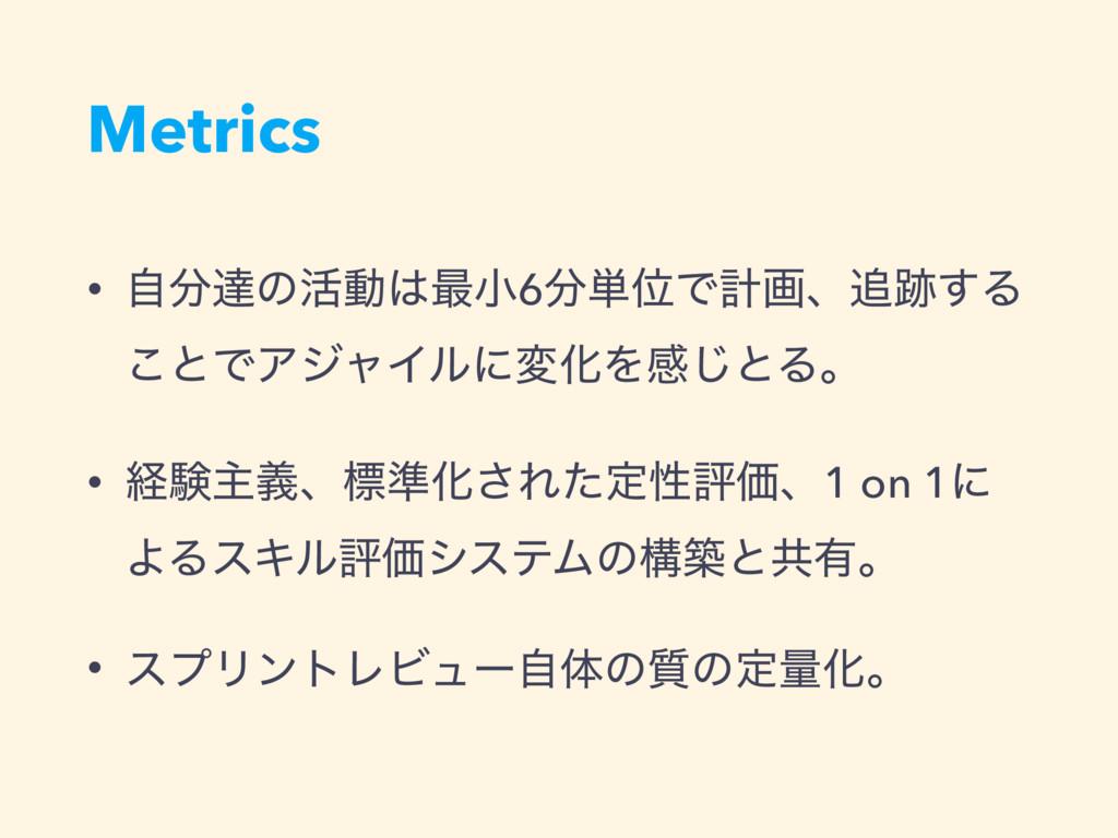 Metrics • ࣗୡͷ׆ಈ࠷খ6୯ҐͰܭըɺ͢Δ ͜ͱͰΞδϟΠϧʹมԽΛײ͡ͱ...