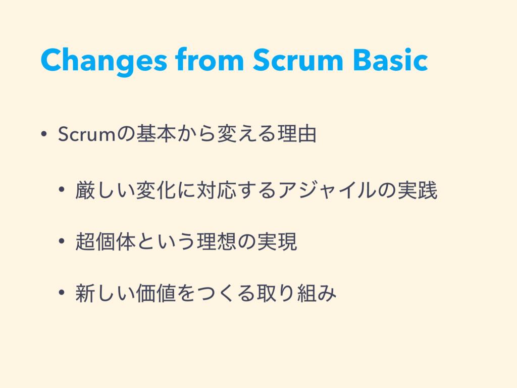 Changes from Scrum Basic • Scrumͷجຊ͔Βม͑Δཧ༝ • ݫ͠...
