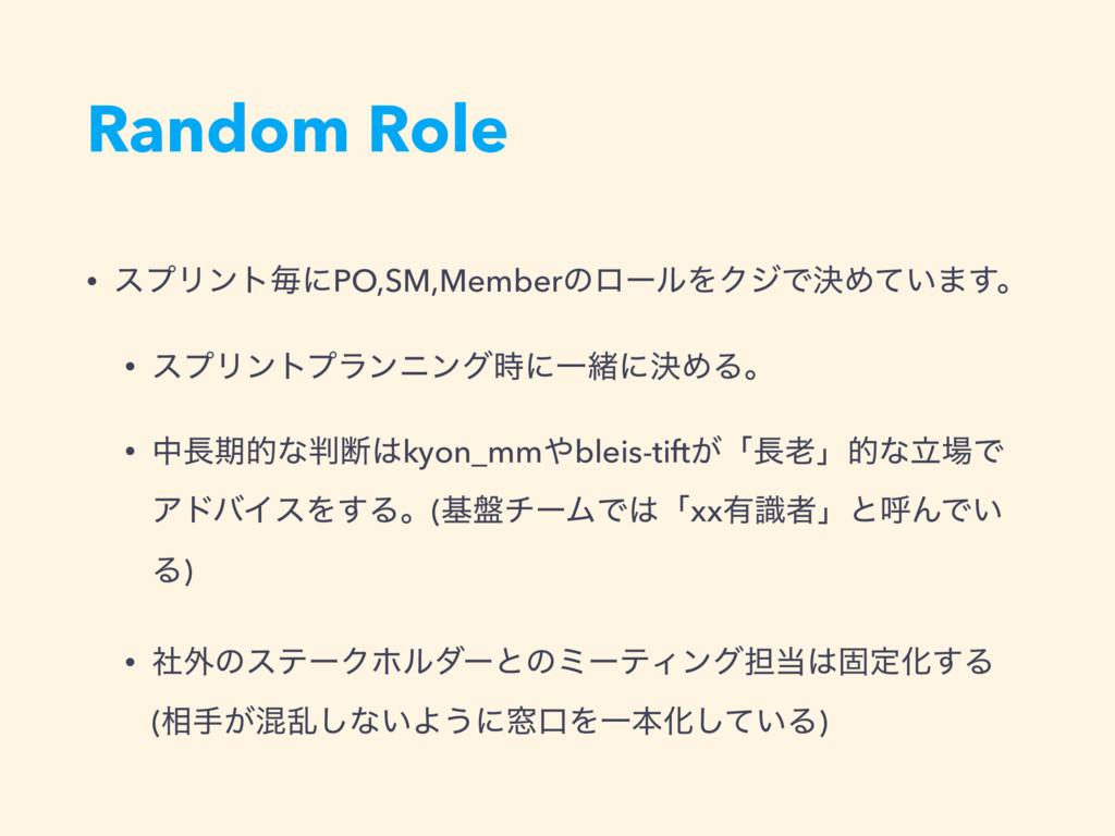 Random Role • εϓϦϯτຖʹPO,SM,MemberͷϩʔϧΛΫδͰܾΊ͍ͯ·͢...