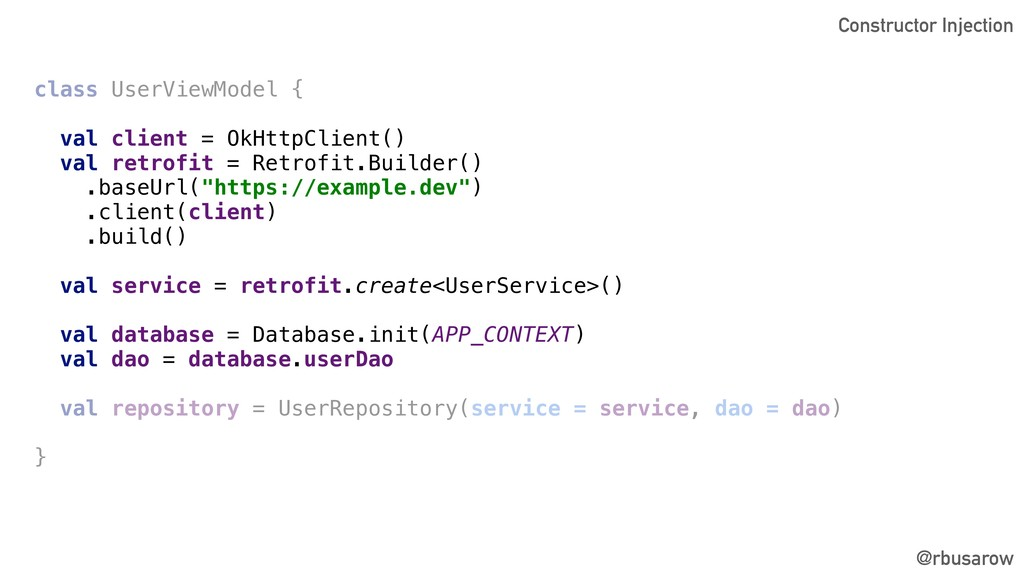 @rbusarow class UserViewModel { val client = Ok...