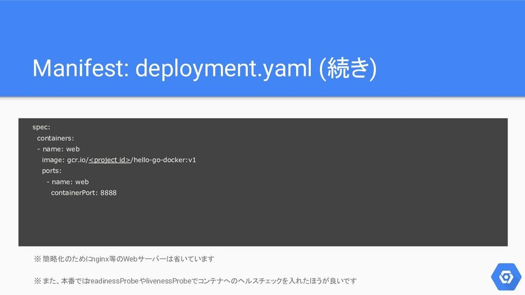Manifest: deployment.yaml (続き) ※ 簡略化のためにnginx等の...