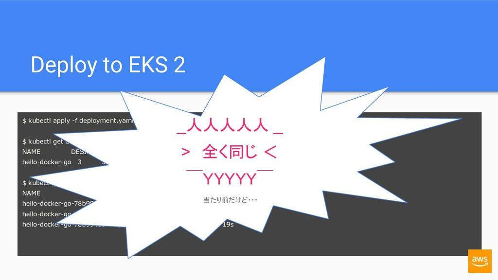 Deploy to EKS 2 $ kubectl apply -f deployment.y...