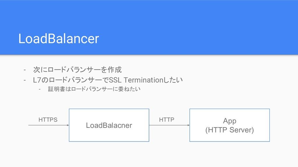 LoadBalancer - 次にロードバランサーを作成 - L7のロードバランサーでSSL ...