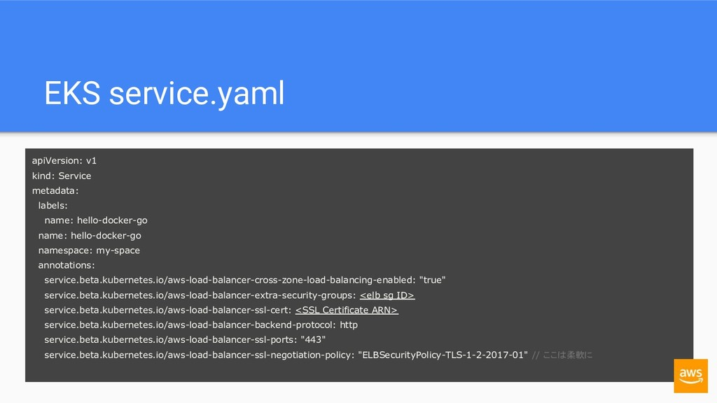 EKS service.yaml apiVersion: v1 kind: Service m...