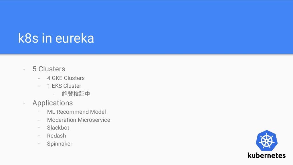 k8s in eureka - 5 Clusters - 4 GKE Clusters - 1...