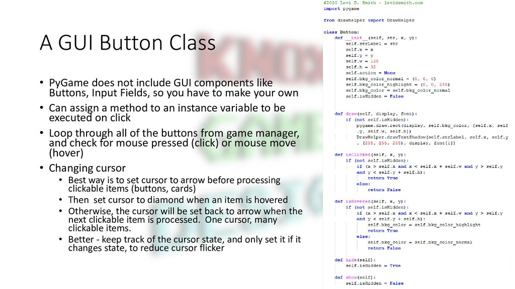 A GUI Button Class • PyGame does not include GU...