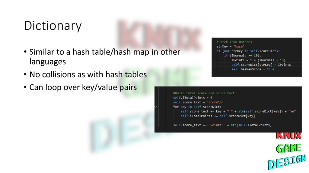Dictionary • Similar to a hash table/hash map i...