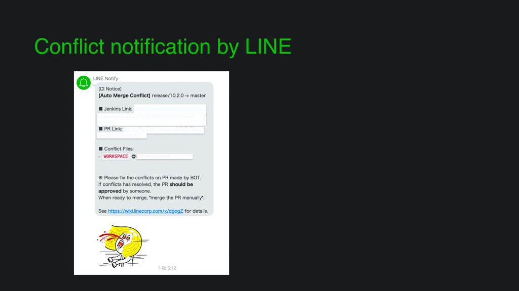 Conflict notification by LINE