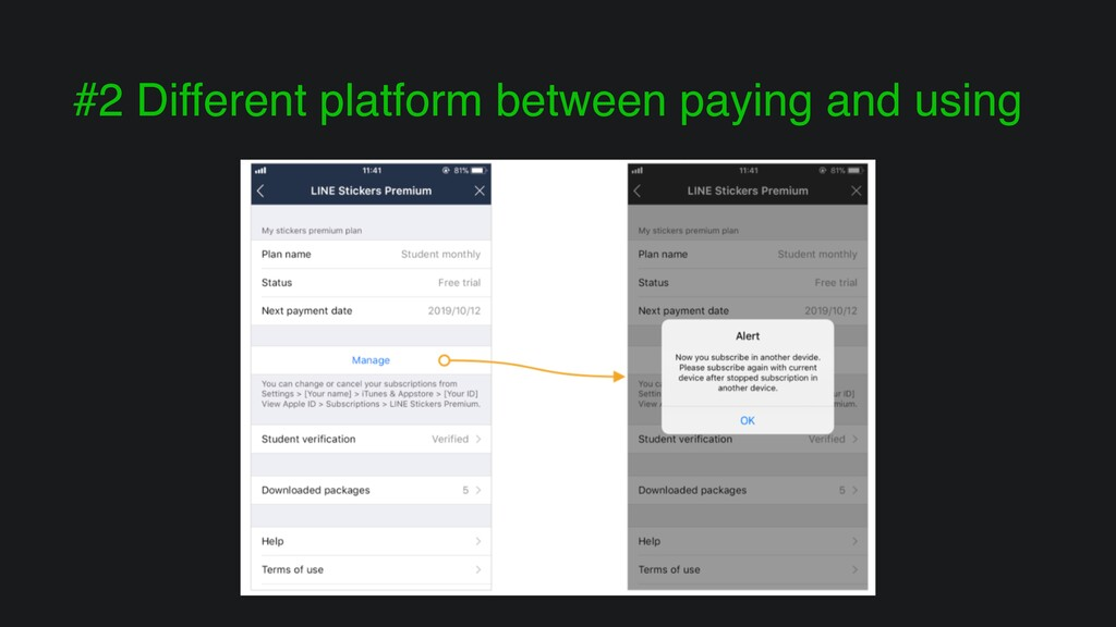 #2 Different platform between paying and using