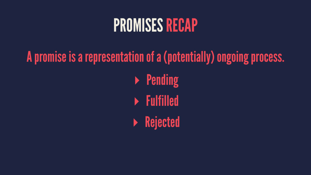 PROMISES RECAP A promise is a representation of...